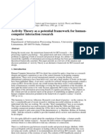 Activity Theory as a Potential Framework for HCI Research