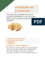 Usos y Propiedades Del Aceite de Cacahuete