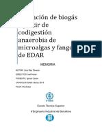 Obtención de biogás a partir de codigestión anaerobia de microalgas y fangos de EDAR