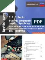 Franz Joseph Haydn Carl Philipp Emanuel Bach Ton Koopman