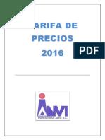 Industrias Anvi Tarifa 2016