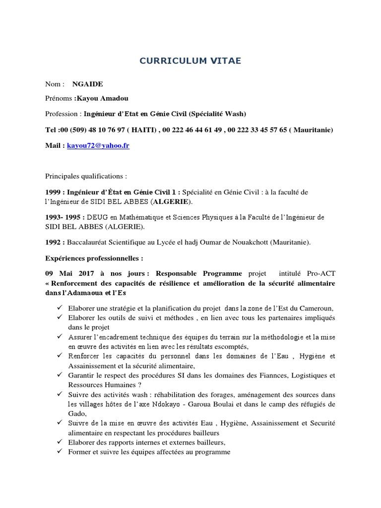 Cv Ingenieur Genie Civil Algerie