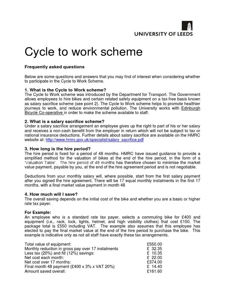 Cycletowork Faqs June 17 Employment Salary