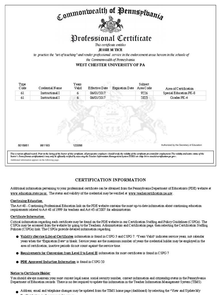 Pa Cert Credential Social Institutions