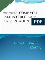 Individual Decision Making Cma