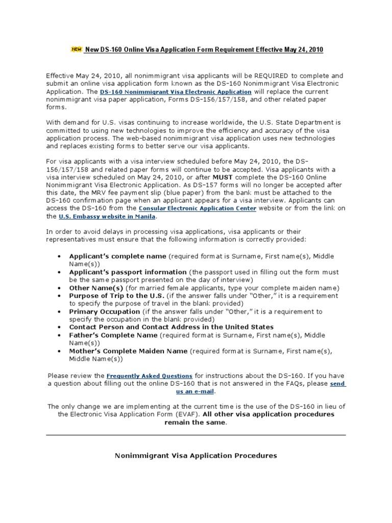 New Ds 160 Online Visa Application Form Travel Visa Faq