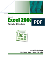 Excel 2007 Formulas Functions