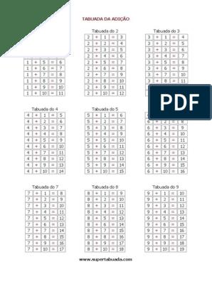 Tabuada Completa Em 4 Paginas Pdf Formato A4 Esportes Matematica