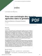 Pour Une Sociologie Des Mondes Agricoles Dans La Globalisation