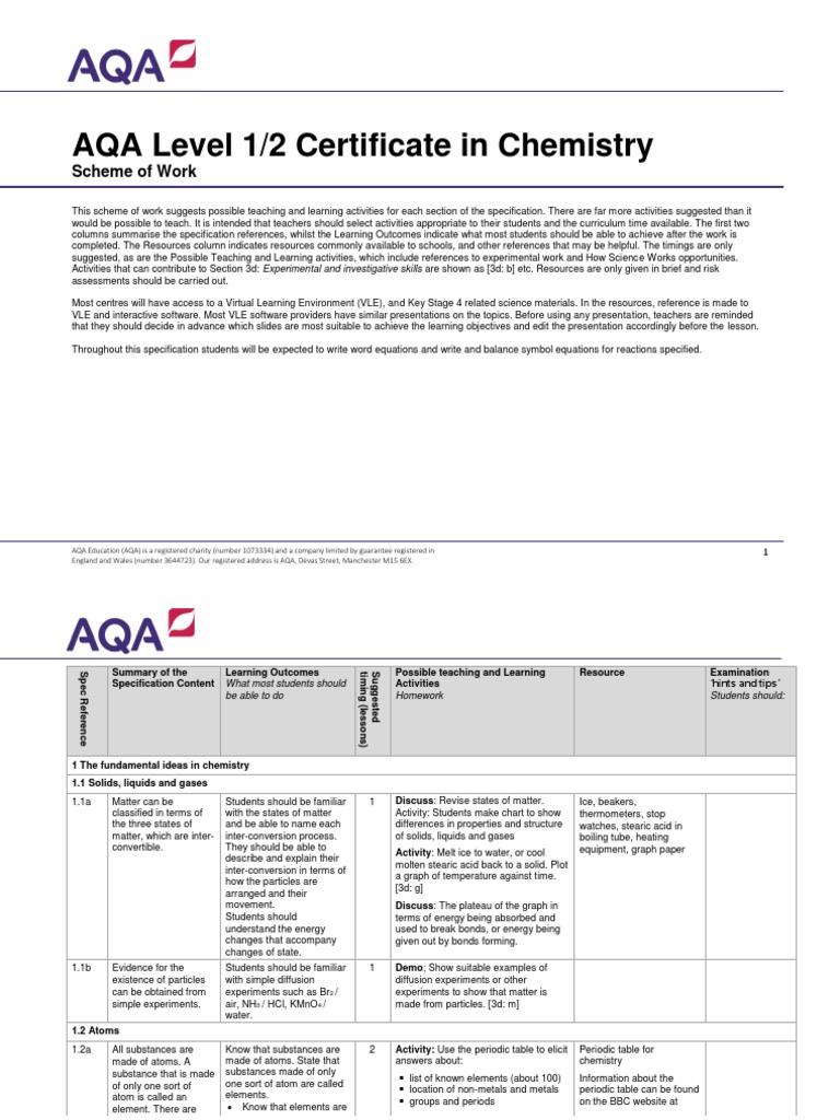 Aqa Science Igcse Chemistry Sow Atoms Proton Grade Bitesize Physics Generation Of Electricity Revision Page 3