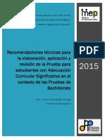 Pruebas Nacionales Adecuacion Curricular Significativa 2015