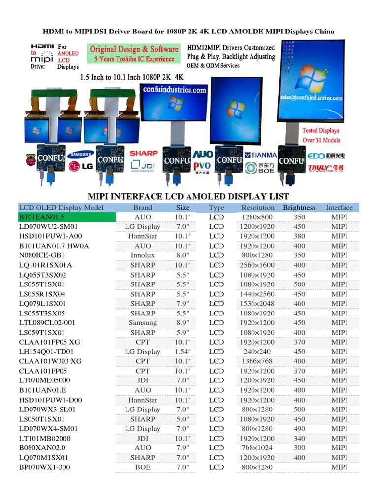 MIPI Interface Displays List | Liquid Crystal Display | Oled