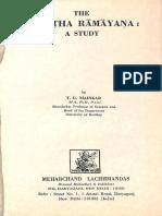 The Vasistha Ramayana - A Study