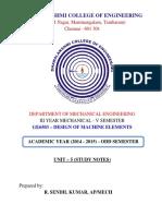 Me6503 Dme Unit 5 Study Notes 2015