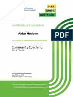 certificate for aidan hudson in community coaching general principles