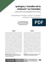Antropologia y Estudios de La Violencia en Colombia