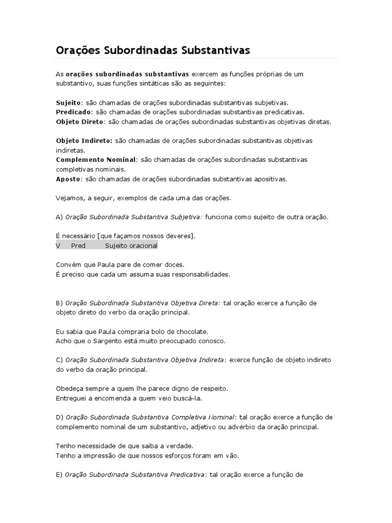 Orações Subordinadas Substantivas   Sintaxe   Tipologia Linguística