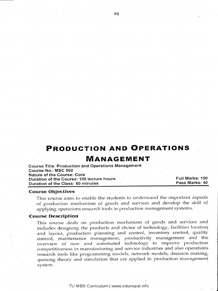 TU MBS 2nd Year Curriculum
