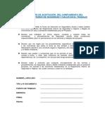 1.-Declaración de Aceptación Del Cumplimiento Del Reglamento Interno de Seguridad y Salud en El Trabajo