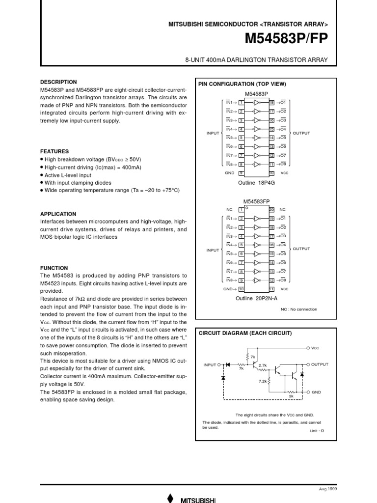 M54583p Fp Transistor Bipolar Junction Relay Circuit