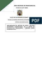 MECANIZACIÓN DEL MÉTODO DE CORTE Y RELLENO