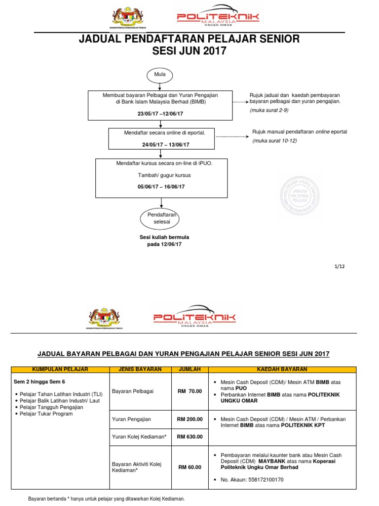 Jadual Pendaftaran Pelajar Senior Jun2017
