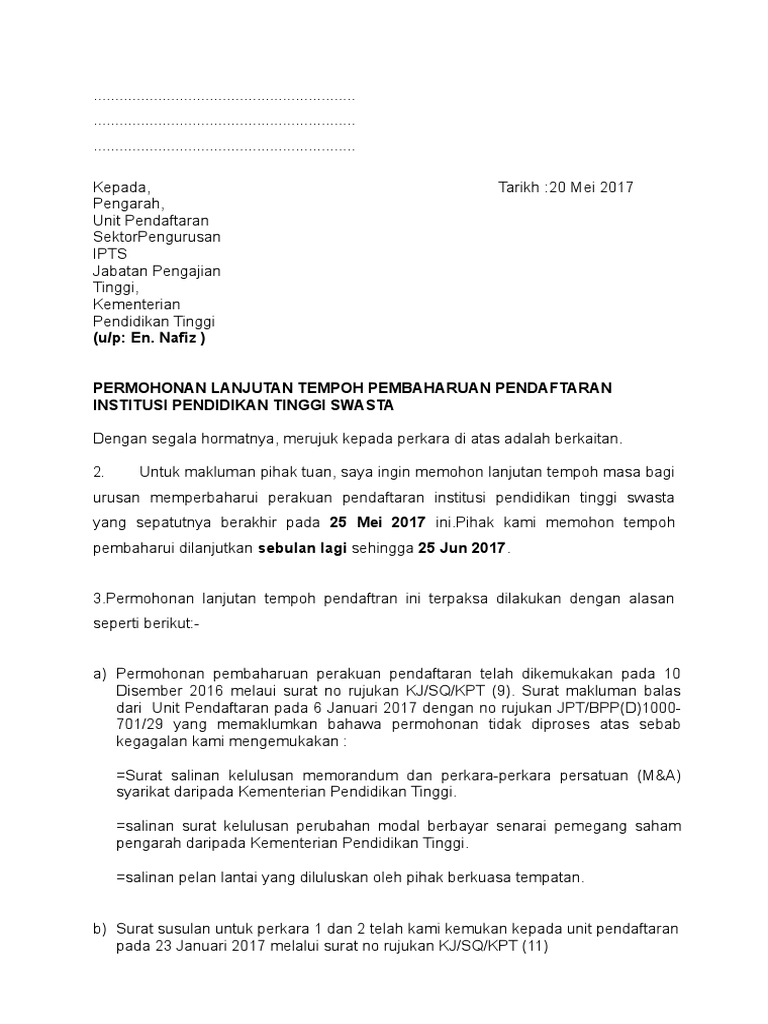 Surat Lanjutan Tempoh Docx