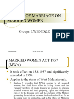 Effect of Marriage on Married Woman