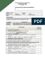 Ficha de Evaluación de Sesión de Aprendizaje