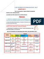 Cronograma de Examen de Subsanacion o Aplazados 2017