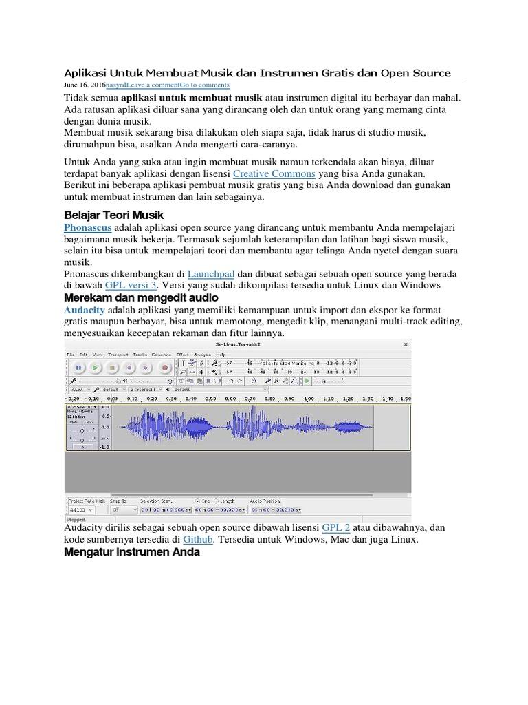 Aplikasi Untuk Membuat Musik Dan Instrumen Gratis Dan Open