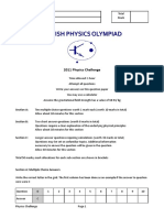 Physics Challenge 2011 Question Paper