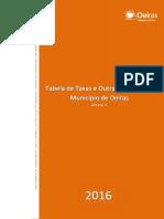 Tabela de Taxas e Outras Receitas Para 2016