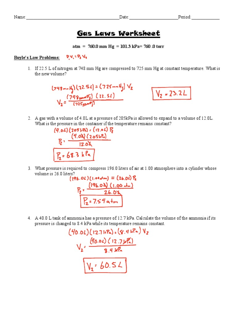 Worksheets Combined Gas Law Worksheet Answers gas laws worksheet answer key gases litre