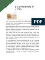 Historia de La Biblia Espanola