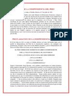 Acta de La Independencia Del Peru