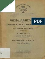 Reglamento Instruccion de Tiro Artilleria de Costa 1927 Tomo I