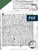 1819 Obispo de Cartagena - A Los Neogranadinos, Noviembre