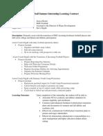 summer internship learning contract