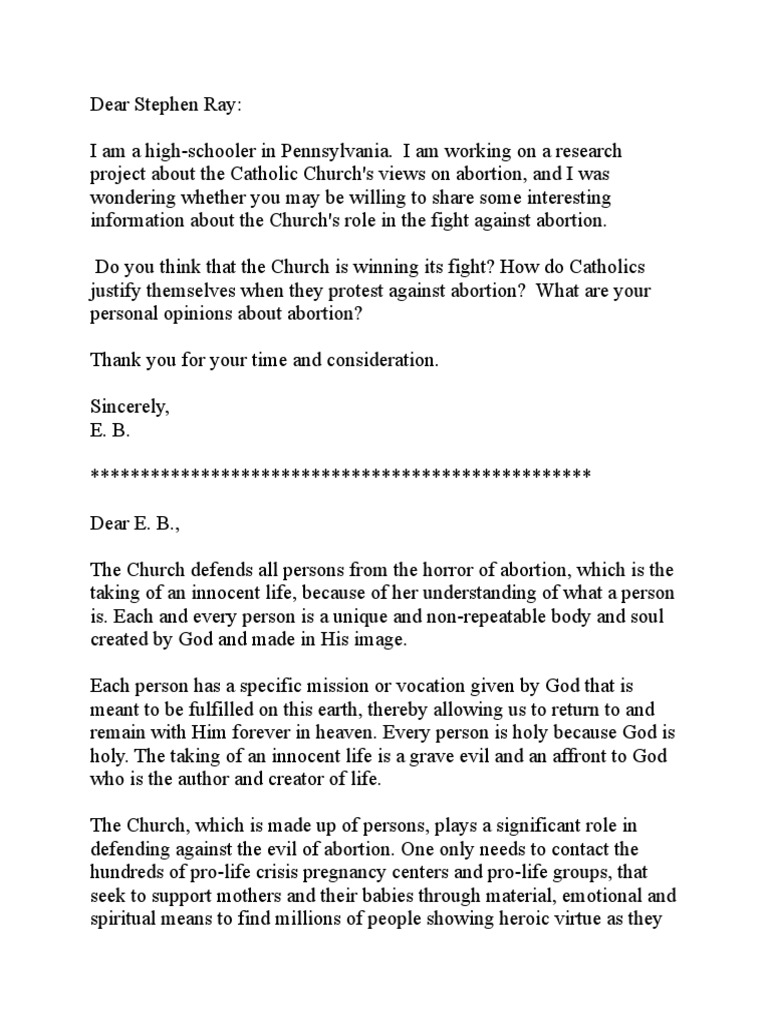 catholic church view on abortion