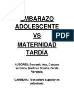 Embarazo Adolescente vs Maternidad Tardi