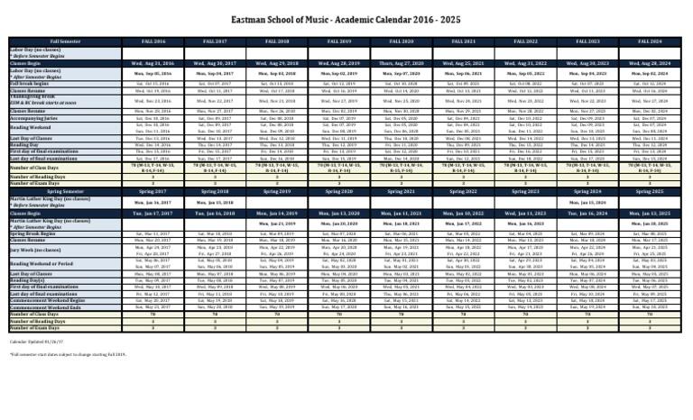 Cu Boulder Academic Calendar Fall 2022.Eastman School Of Music Academic Calendar 2016 2025 Academic Term Schools