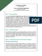 Notas de Los Estados Finacieros Majaca