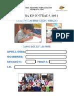 CUADERNILLO DE EVALUCION DE ENTRADA - COMUNICACIÓN PRIMARIA 6°