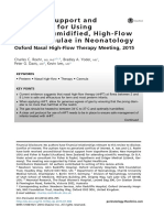 Evidence Support and Guidelines for Using Heated, Humidified, High-Flow Nasal Cannulae in Neonatology
