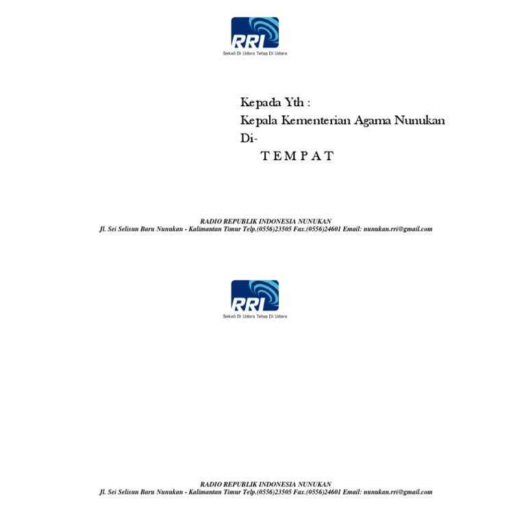 Format Amplop Surat