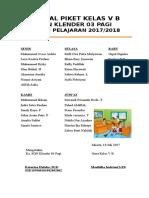 Jadwal Piket Tegak. Kelas 5b Tahun 2017-2018 Doc