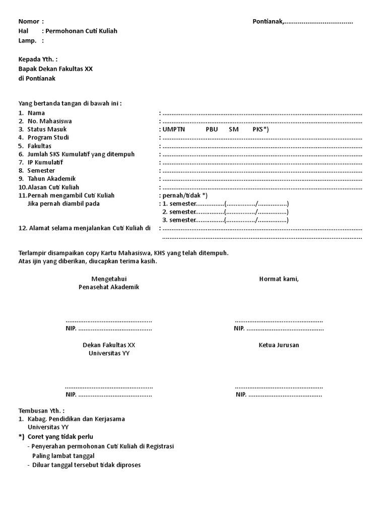 Contoh Format Surat Cuti Kuliah