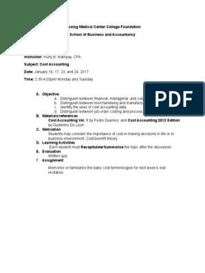COST ACCOUNTING docx | Cost Accounting | Accounting