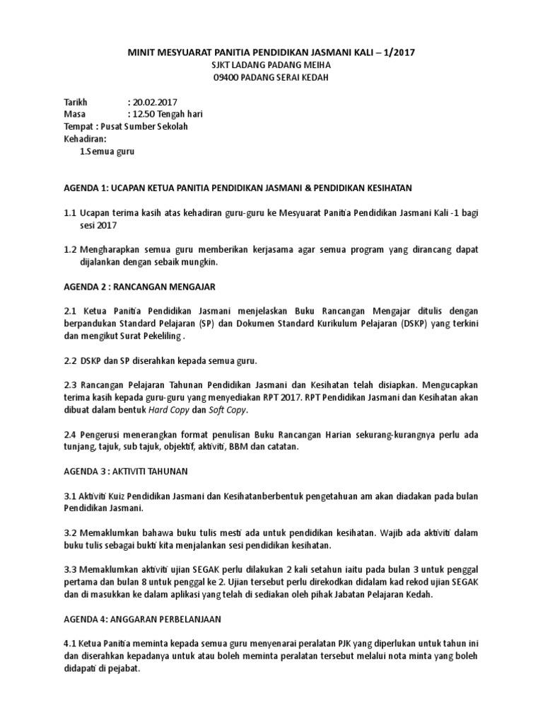Minit Mesyuarat Panitia Pendidikan Jasmani Kali 1 Doc